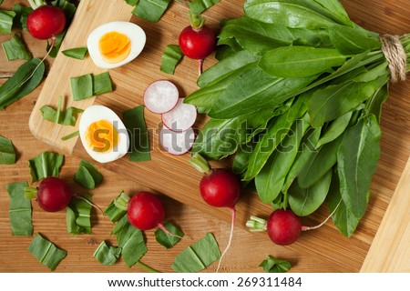 Healthy spring vegetables, sorrel, radish and eggs on wooden table. Super food nutrition. - stock photo