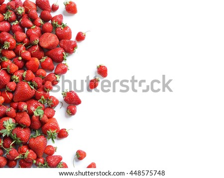 Healthy strawberry isolated on white background. Copy space. Top view, High resolution product. - stock photo