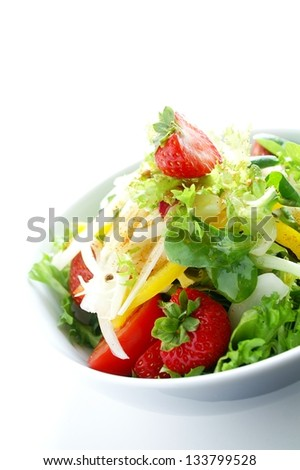 healthy strawberry salad with caribbean spice