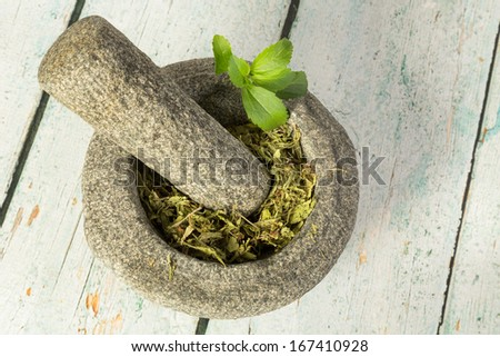 Healthy sugar substitute dried stevia in mortar - stock photo