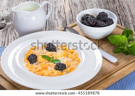 healthy summer breakfast: corn flakes with milk and dewberry in a white dish ,close up