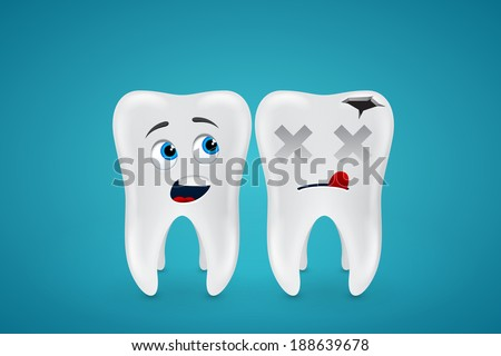 Healthy teeth and dead on blue background