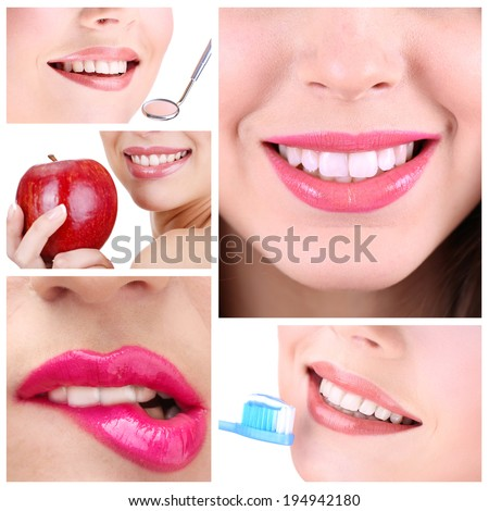 Healthy teeth collage - stock photo