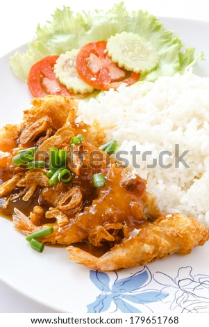 Healthy Thai Food, fried shrimp in tamarind sauce served with steamed rice.