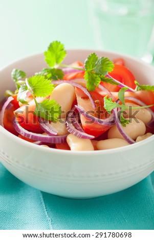 healthy tomato salad with white beans onion cilantro - stock photo