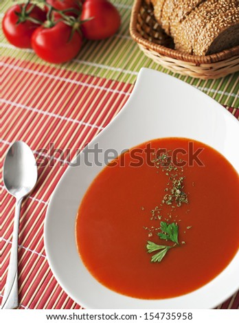healthy tomato soup with homemade bread