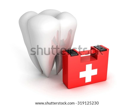 Healthy Tooth And Medical Kit on white background. 3d Render Illustration - stock photo