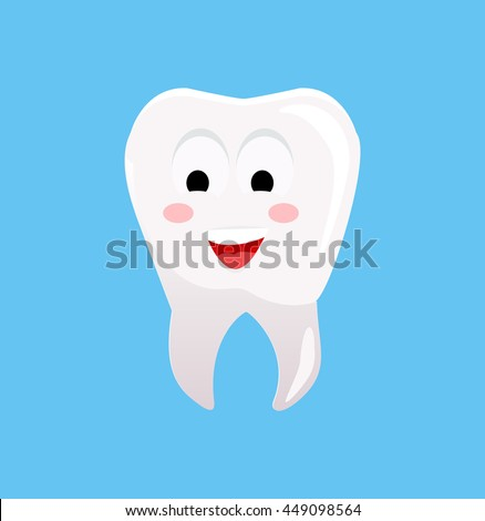 Healthy tooth with happy face.  illustration. Smiling tooth