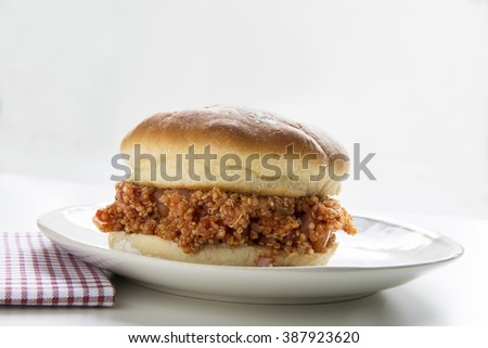 Healthy vegan quinoa sloppy joe, just as messy as the meat version. - stock photo