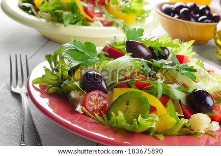 Healthy vegetable fresh organic salad on the white table