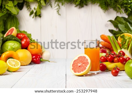 healthy vegetable juices for refreshment and as an antioxidant  - stock photo