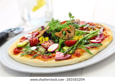 healthy vegetable pizza, vegetarian food  - stock photo