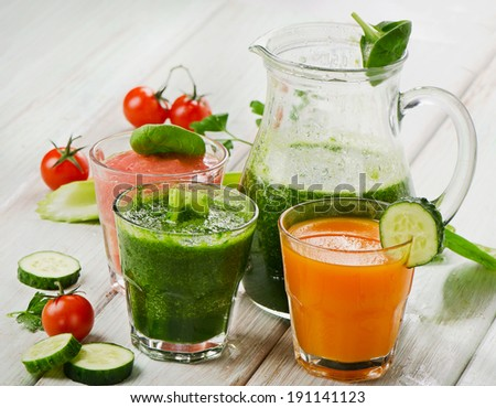 Healthy vegetable smoothie and juice.  Selective focus