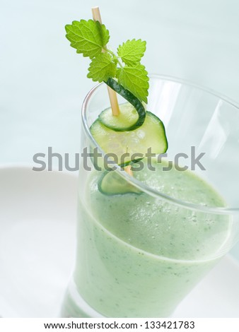 Healthy vegetable smoothie with cucumber, selective focus