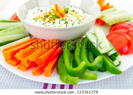 Healthy vegetables and dip snack - stock photo