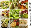 healthy vegetables and fruit food - collage - stock photo