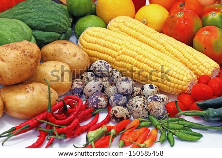 healthy vegetables and fruits, isolated on white background