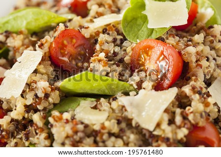 Healthy Vegetarian Quinoa Salad with Tomatoes and Spinach - stock photo