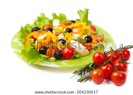 Healthy vegetarian salad isolated