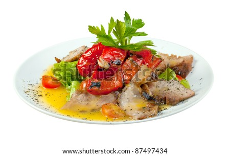 Healthy vegetarian Salad with pork, pepper paprikaon the white plate .isolated on white background.