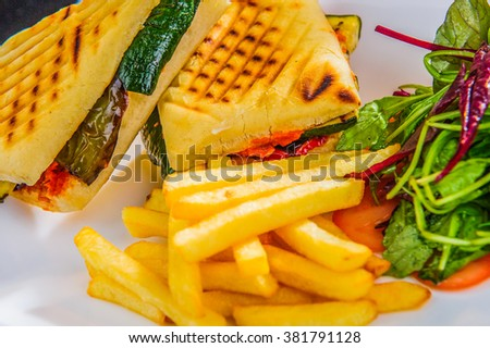 Healthy veggie panini sandwiches with french fries. - stock photo