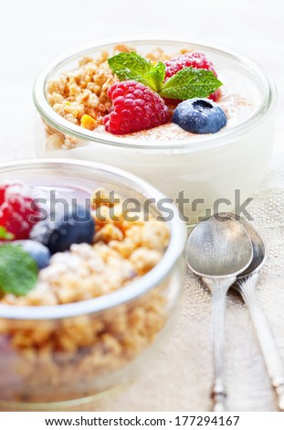 Healthy verrines with yogurt, muesli and fresh berries