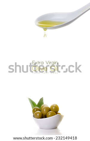 Healthy virgin olive oil dripping from a white ceramic spoon on a sample text with olive seeds on white bowl at the bottom left. Clean eating concept. Template design isolated on white - stock photo