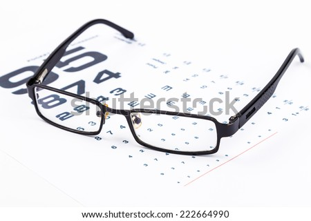 Healthy Vision.Old glasses and Eye Chart - stock photo