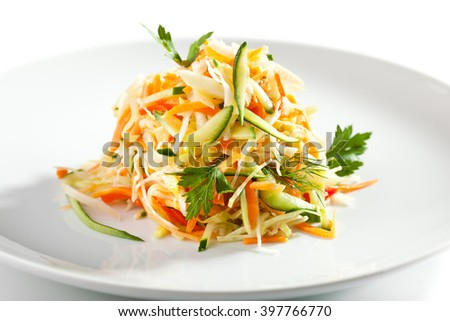 Healthy Vitamins Salad with Carrots, Apple, Bell Pepper and Greens - stock photo