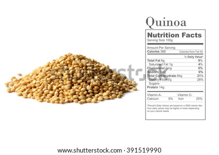 Healthy white quinoa seeds with nutrition facts on white background