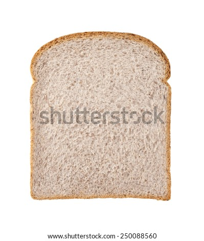 healthy whole wheat bread slice isolated on white - stock photo