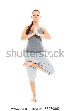 healthy woman doing yoga. isolated on white background - stock photo