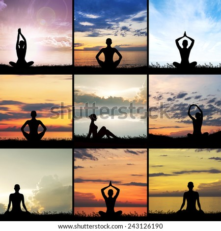 Healthy woman meditating outdoor. Trace over natural background. - stock photo