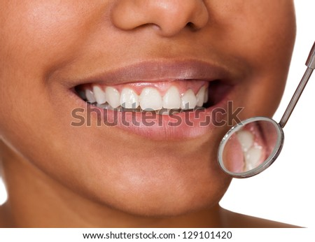 Healthy Woman Teeth. Isolated On White Background - stock photo