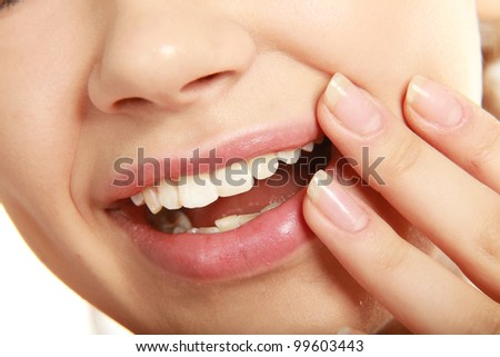 Healthy woman teeth. Isolated over white background