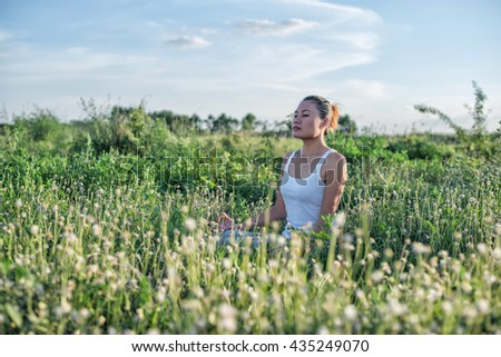Healthy woman,Yoga woman In the lotus posture. - stock photo