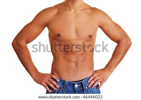 Healthy young man with naked upper body - stock photo