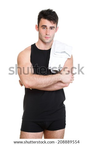 Healthy young man with towel isolated on white background - stock photo