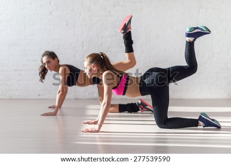 Healthy young sportswoman doing the exercises on all fours arching back straightening leg up concept sport, fitness, lifestyle. - stock photo