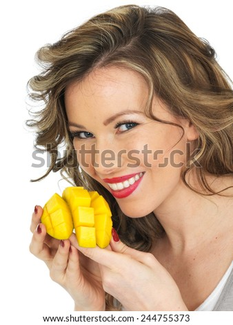 Healthy Young Woman Eating a Prawn and Noodle Salad