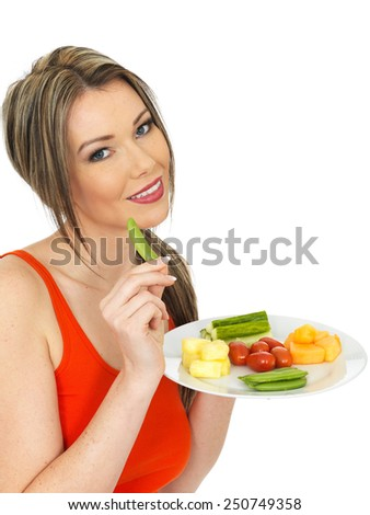 Healthy Young Woman Eating Five A Day - stock photo