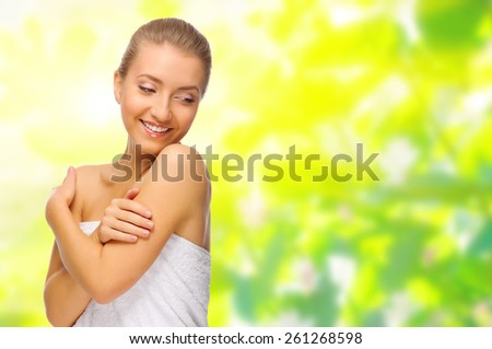 Healthy young woman isolated on white - stock photo