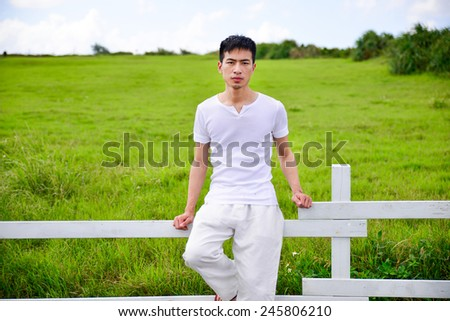 Healty lifestyle-young white dress in park - stock photo