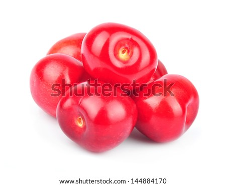 Heap cherries, isolated on white