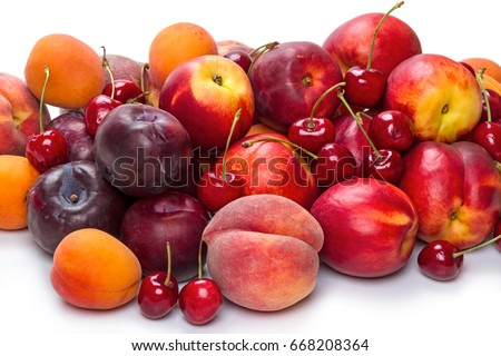 Heap different fruits: cherry, peach, nectarine, apricot, plum