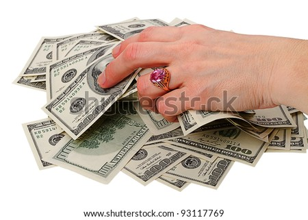 Heap dollars in hand with a ring isolated on white background