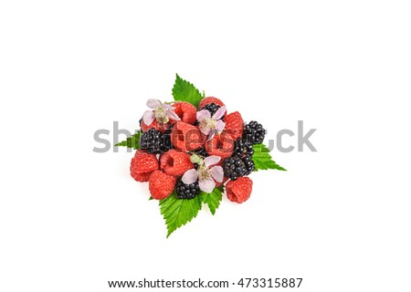 heap forest berries with blossom flower isolated on a white background