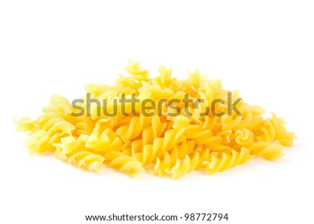 Heap Fusilli Pasta isolated on white background. Pasta is a staple food of traditional Italian cuisine.