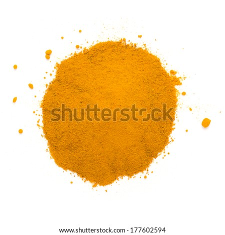 Heap ground turmeric isolated on white background - stock photo