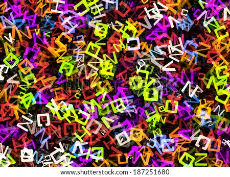 heap of abstract multicolored flying alphabet letters - stock photo